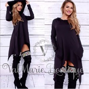 🔥SZ M LAST ONE🔥Black Hooded Cape Top
